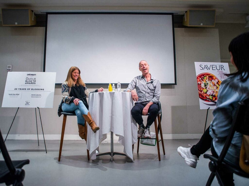 At Hotel 21c, editor-in-chief Sarah Gray Miller (left) hosted a discussion on twenty years of food blogging with pastry chef, cookbook author, teacher, and Paris food expert David Lebovitz, who was awarded SAVEUR Blog of the Decade.