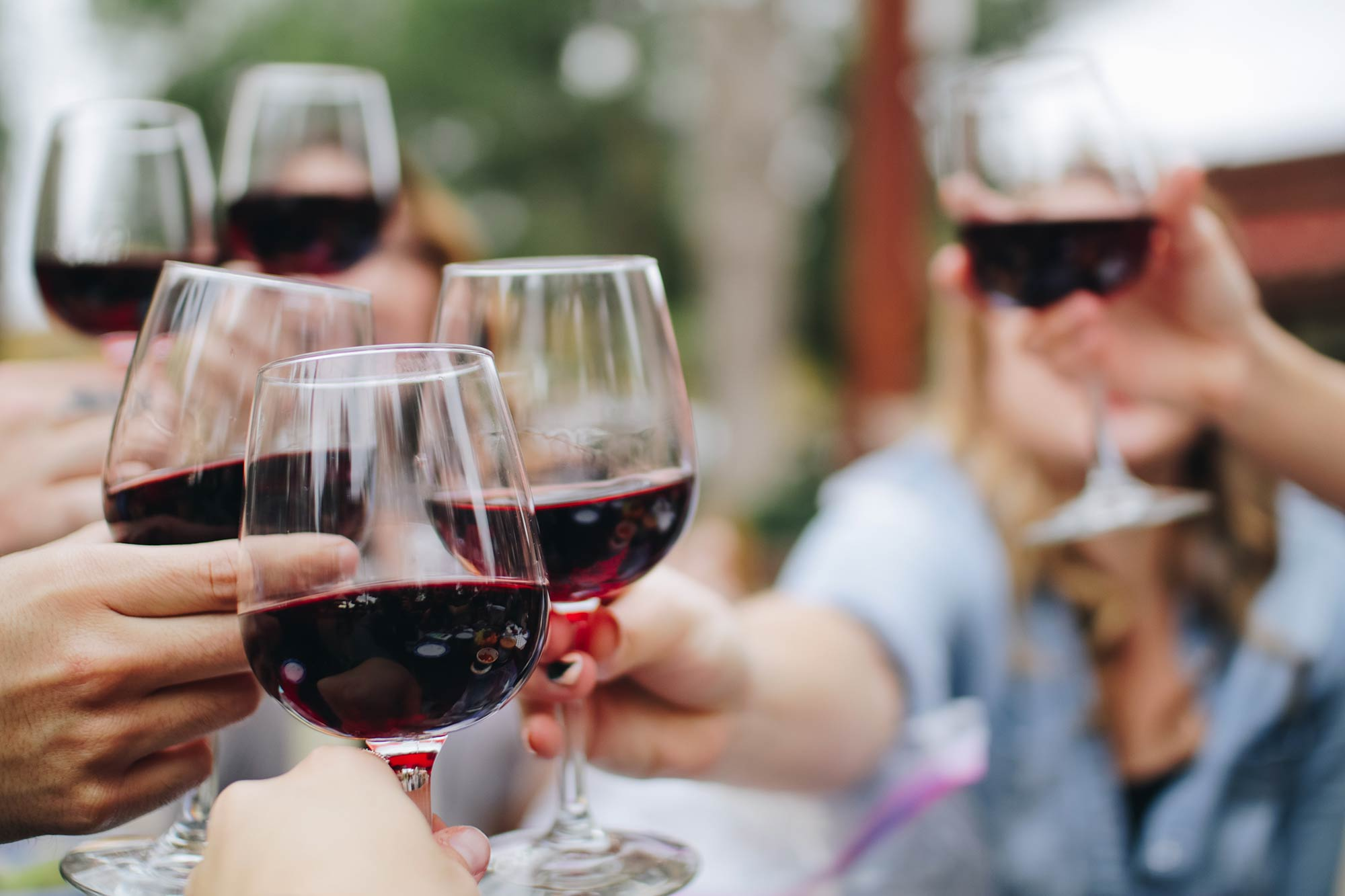 Group of friends toasting with wine glasses