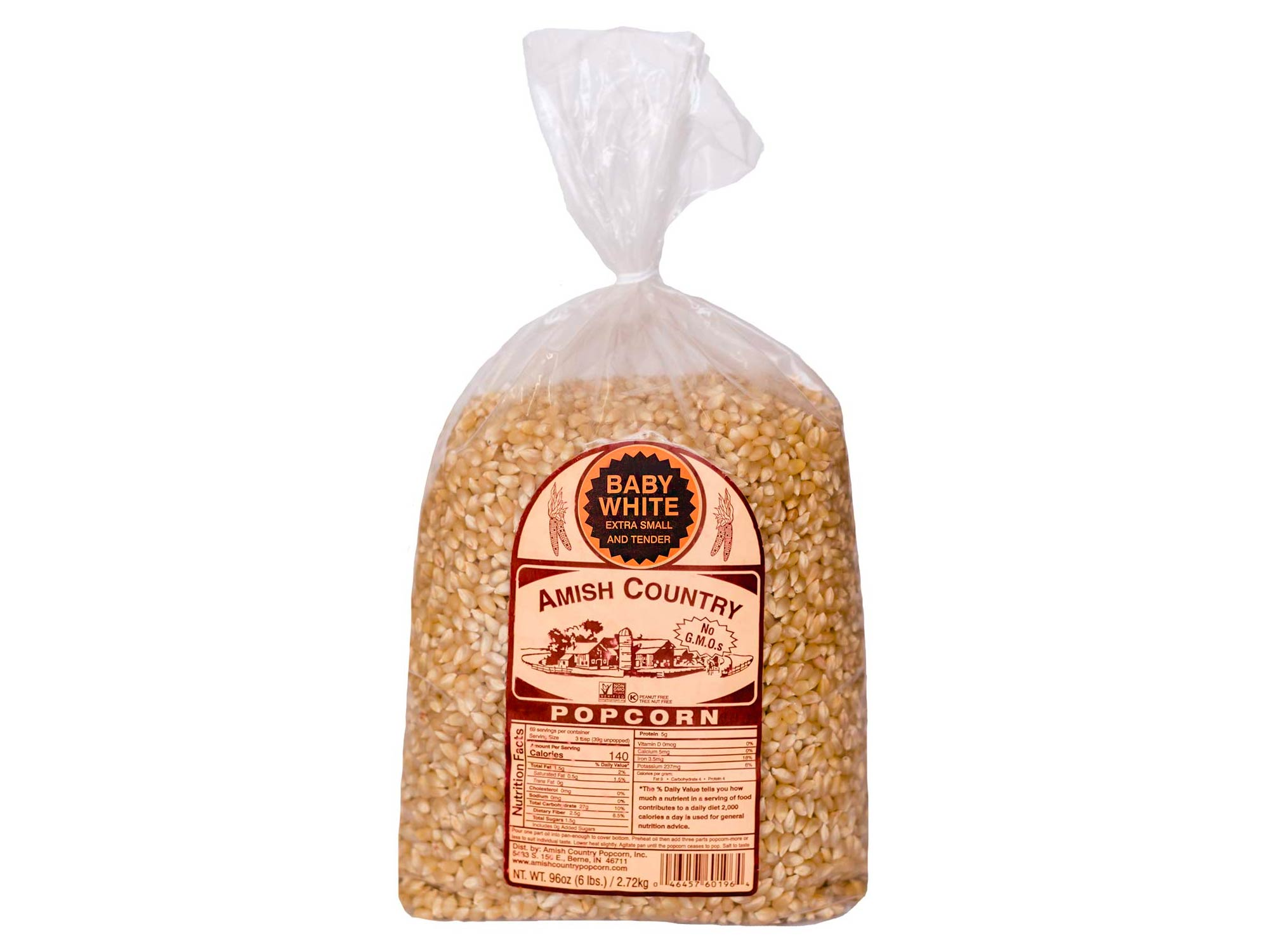 Amish Country Popcorn | 6 lb Bag | Baby White Popcorn Kernels | Small and Tender | Old Fashioned with Recipe Guide (Baby White, 6 Lb Bag)