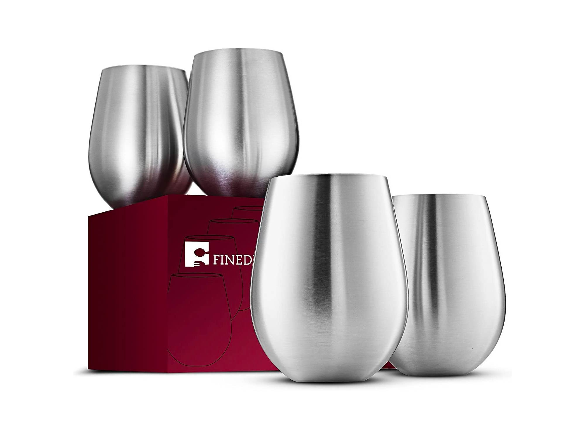 Stainless Steel Wine Glasses - Set of 4 Large & Elegant 18 Oz. Premium Grade 18/8 Stainless Steel Red & White Stemless Wine Glasses, Unbreakable, Portable Wine Tumbler, for Outdoor Events, Picnics