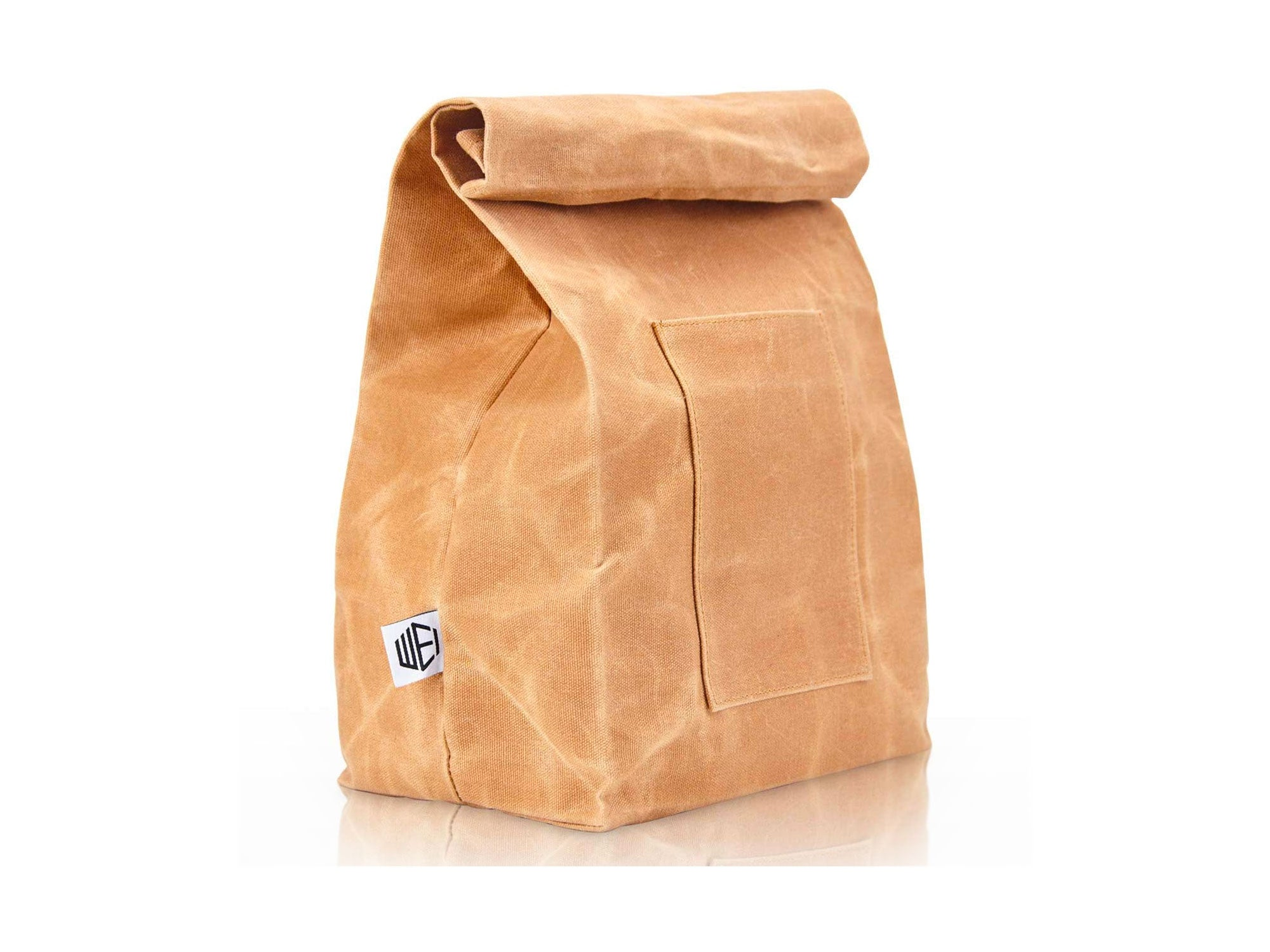WEI CLASSIC Waxed Canvas Lunch Bag, Waterproof, Durable, Eco Friendly, Large Size Brown Paper Bag Styled, Lunch Box for Men, Women & Kids