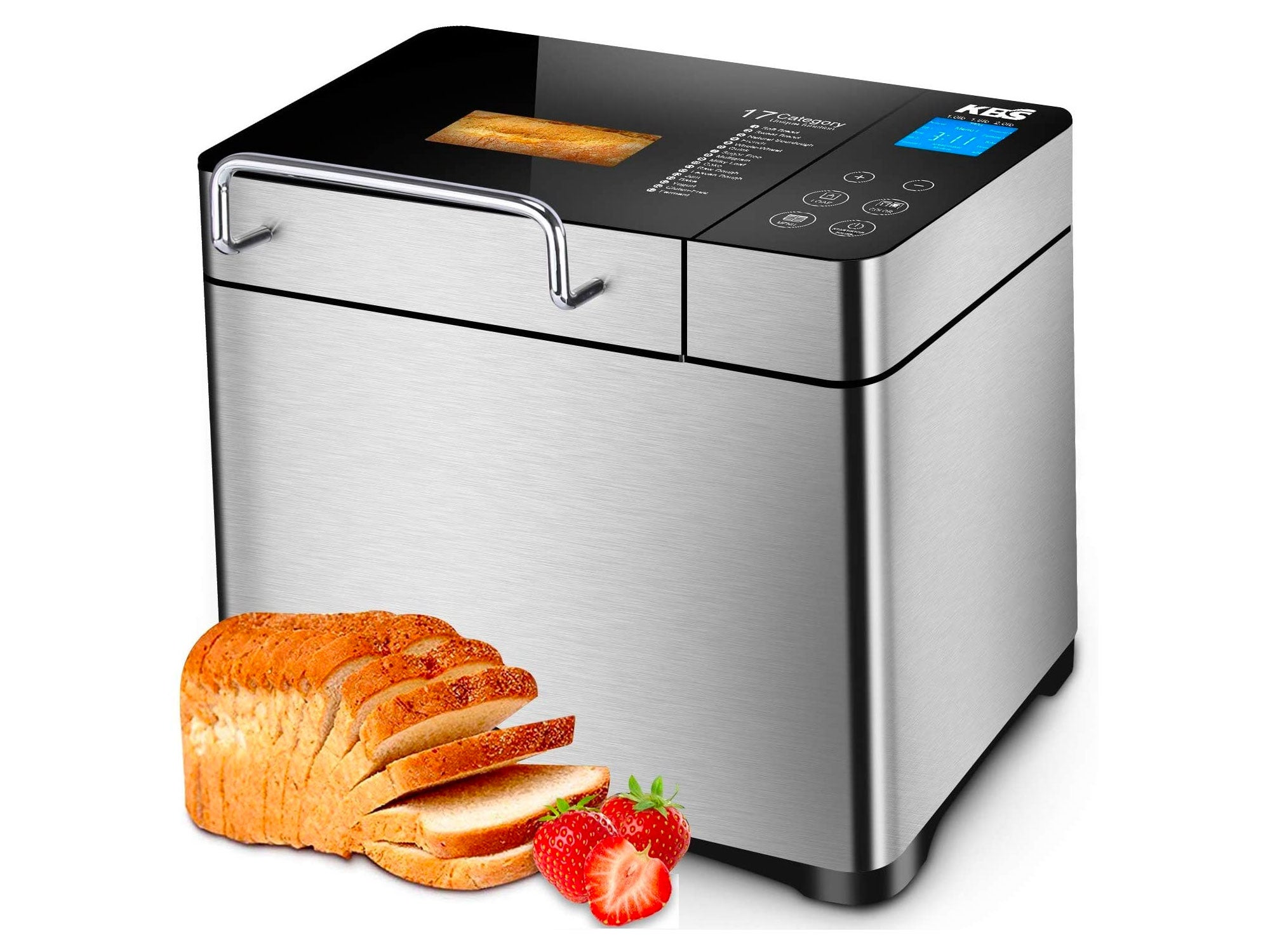 KBS Automatic Bread Machine, 2.2LB Stainless Steel Bread Maker with Fruit Nut Dispenser, Ceramic Pan, Smart Touch Button, 17 Programs, 3 Loaf Sizes, 3 Crust...