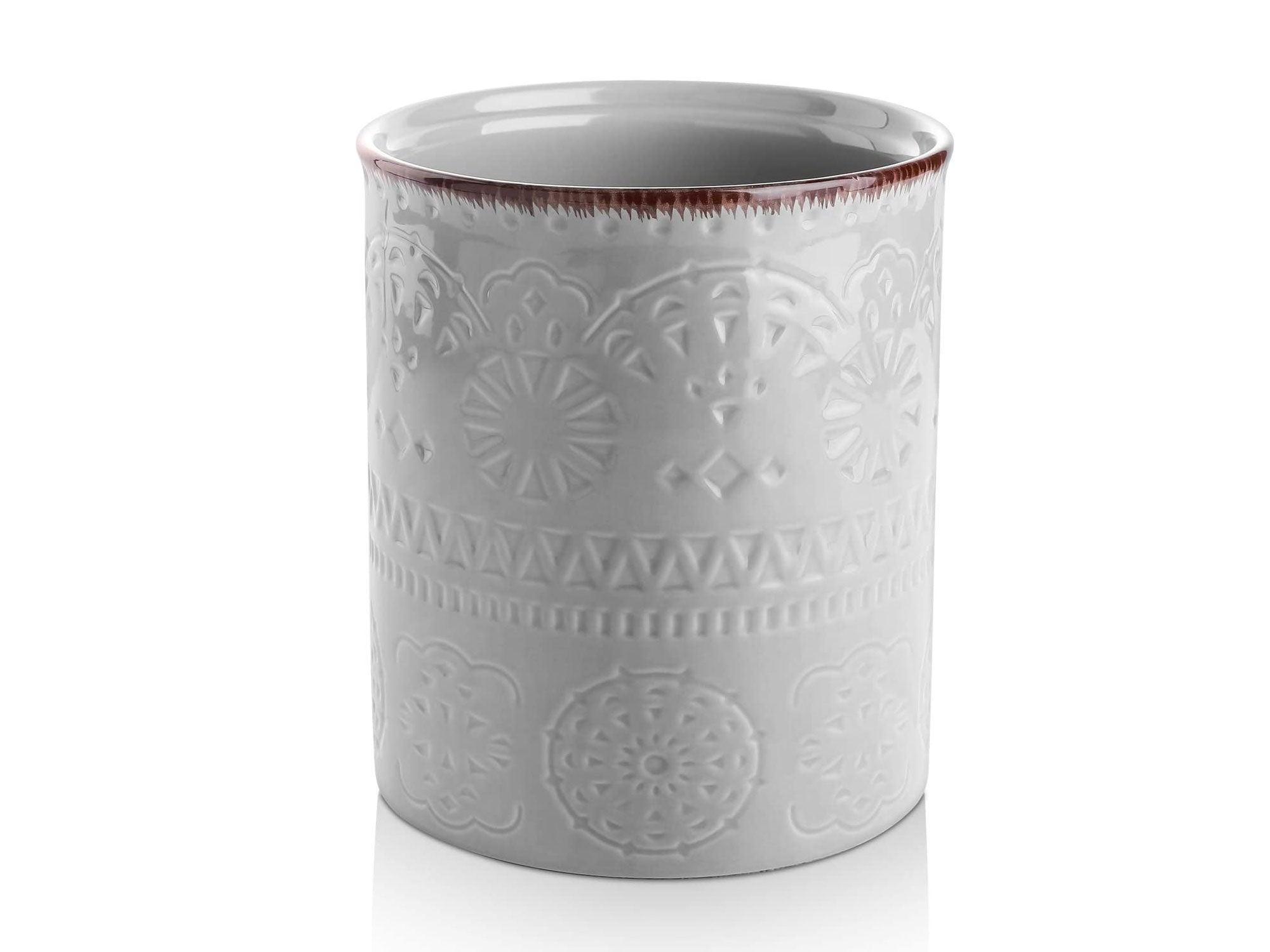 DOWAN Kitchen Utensil Holder, Large Farmhouse Utensil Holders for Countertop with Cork Mat, Grey Utensil Holder for Wedding/Birthday/Housewarming Gift