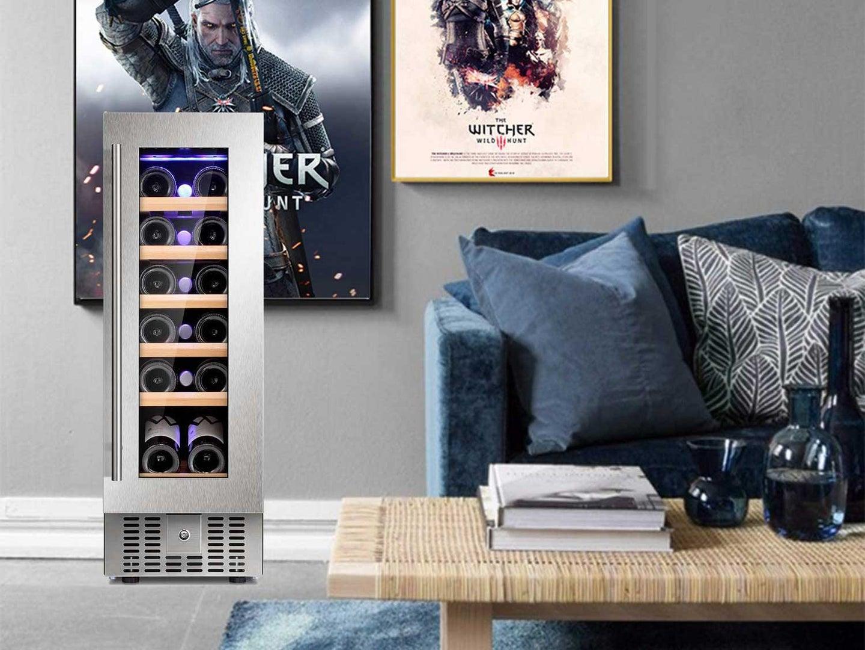 Wine cooler in a living room