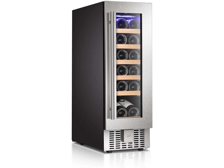 "Antarctic Star 12"" Wine Cooler Beverage Refrigerator Beer Mini Fridge 18 Bottles Single Zone Built-in Freestanding Stainless Steel Double-Layer Tempered Digital Temperature Memory Function Glass Door"