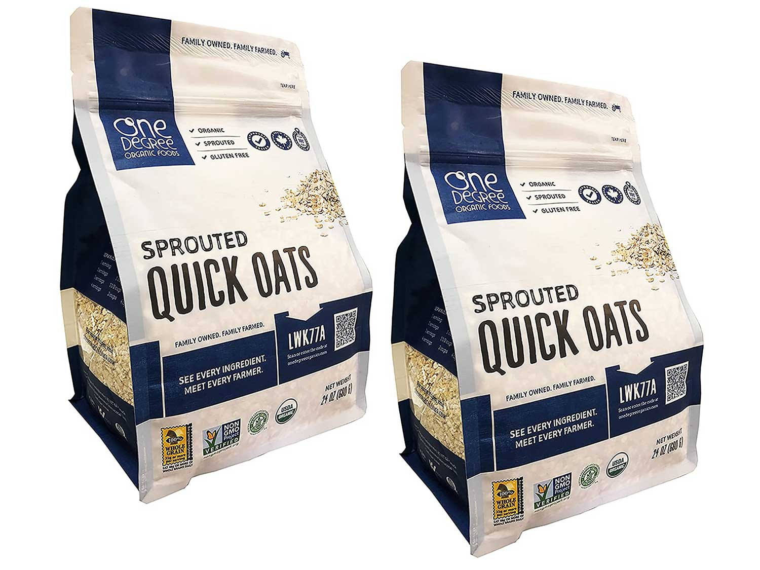 One Degree Organic Sprouted Quick Oats 24 Ounce Pack of 2 - Non-GMO and Organic Easy Oatmeal