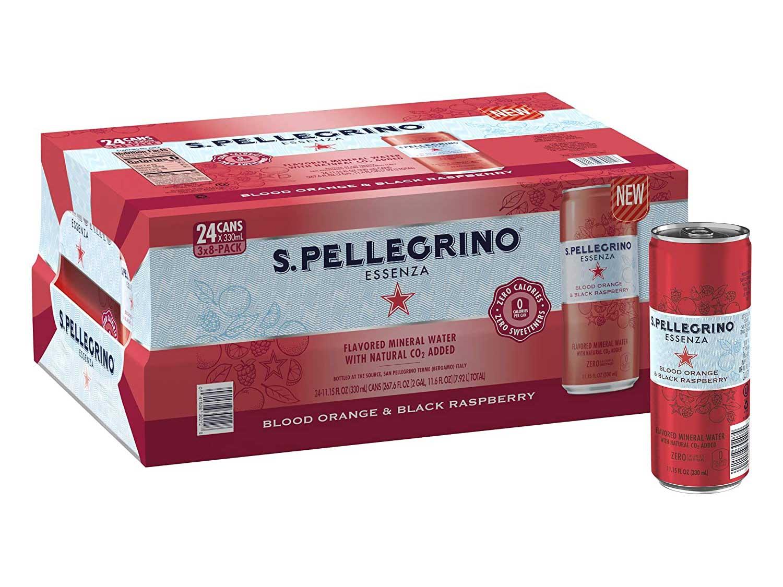 S.Pellegrino Essenza Blood Orange & Black Raspberry Flavored Mineral Water, 11.15 fl oz. Cans (24 Count)