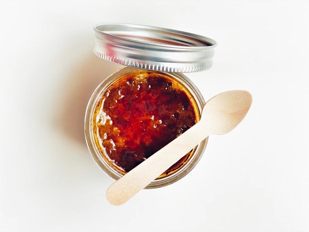 Close up of a jam jar