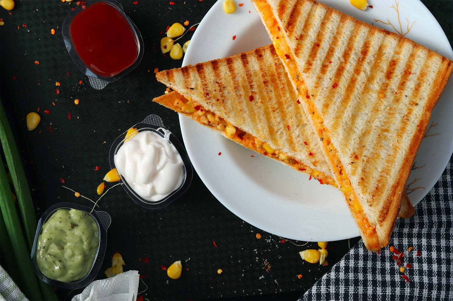 Pressed grilled cheese sandwich with grill marks