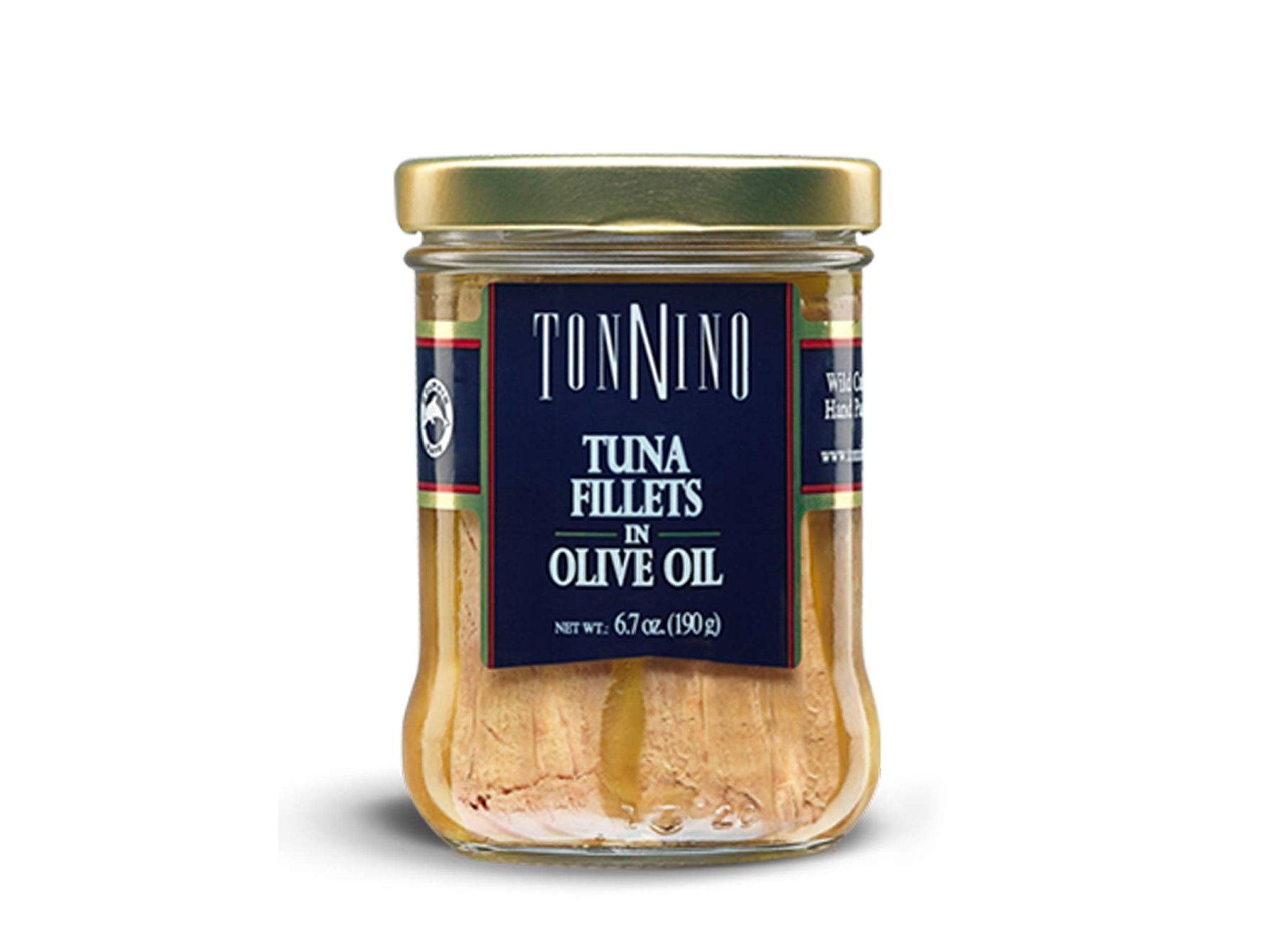 Tonnino Tuna Fillets Low Calorie and Gluten Free Yellowfin Jarred Premium Tuna in Olive Oil 6.7 oz