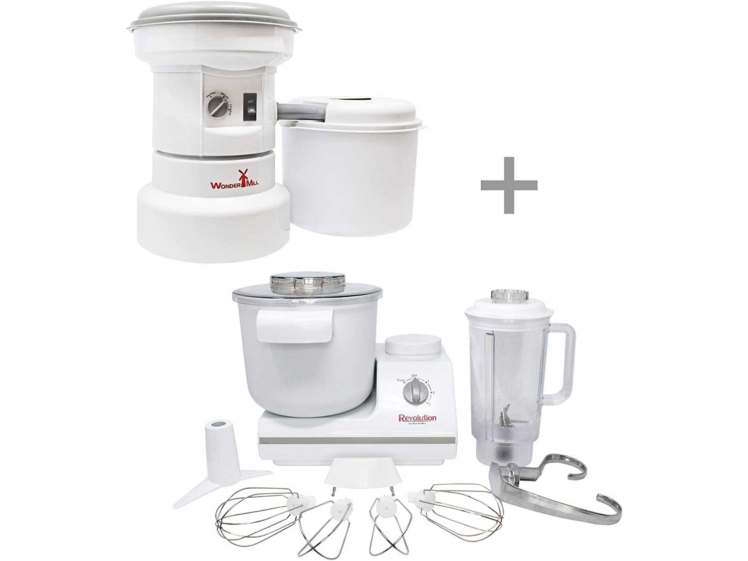Powerful Electric Grain Mill Grinder and Dough Kitchen Mixer Bundle for Home and Professional Use - High Speed Flour Mill for Healthy Grains and Versatile Dough Blender for Making Bread by Wondermill
