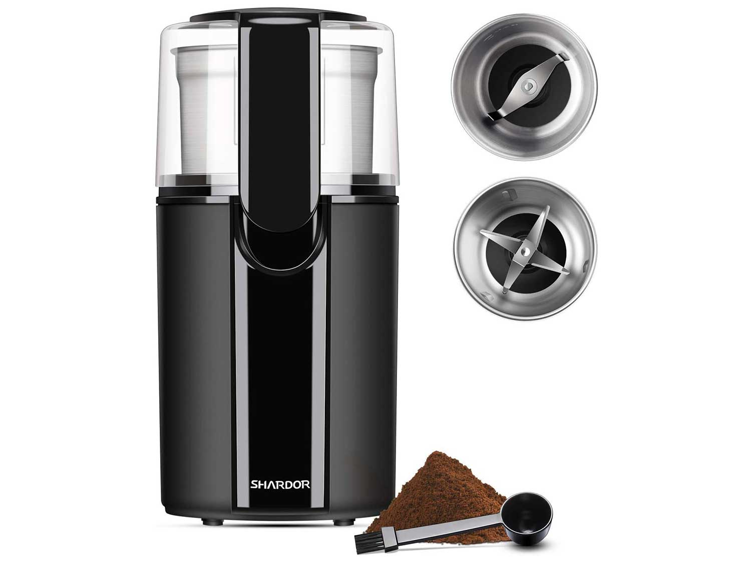 SHARDOR Coffee & Spice Grinders Electric, 2 Removable Stainless Steel Bowls for Dry or Wet Grinding