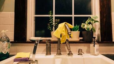 Kitchen sponges in sink.