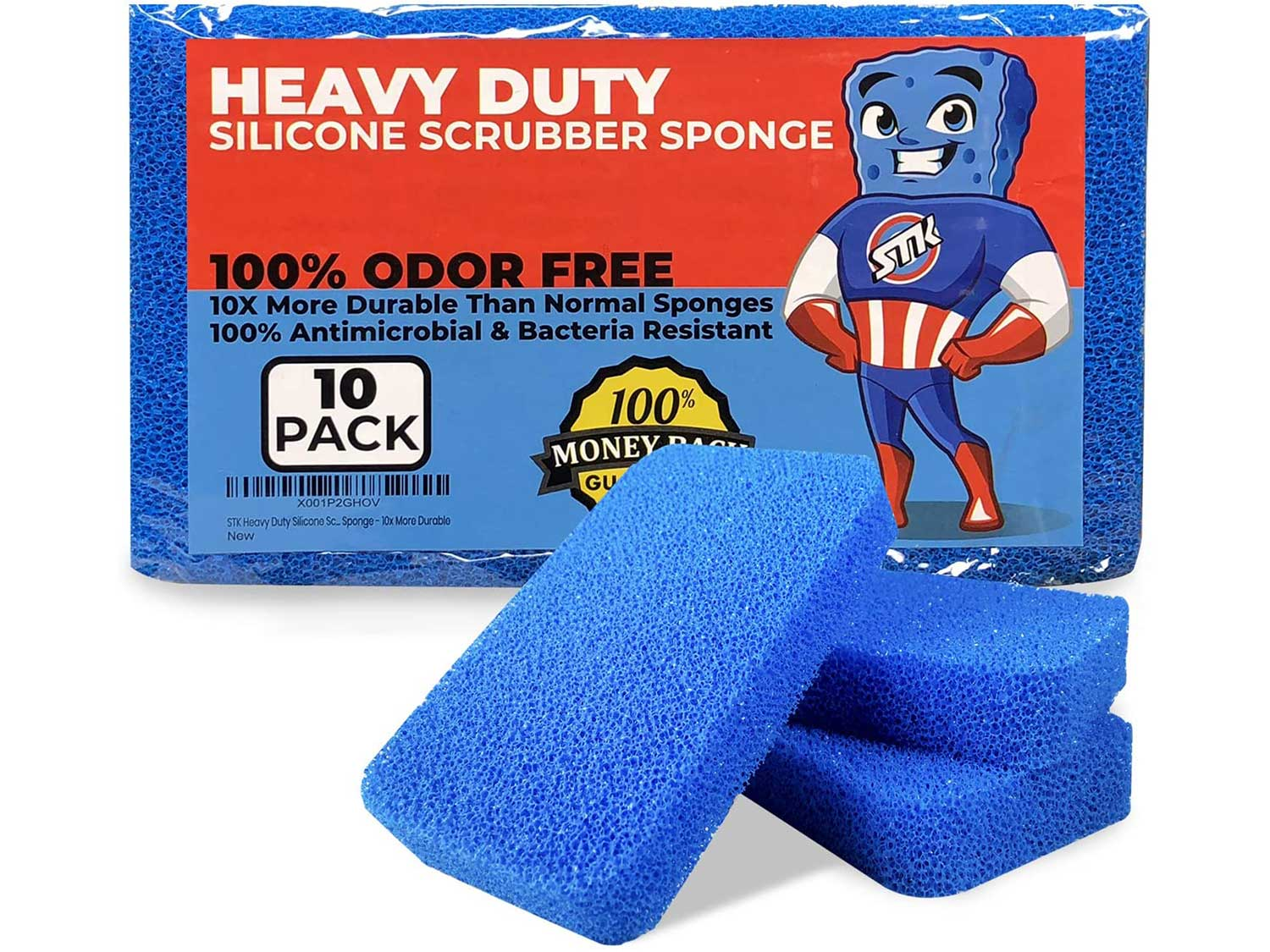 STK Heavy Duty Silicone Scrubber Sponges (10 Pack) - Modern Antimicrobial Kitchen Sponges - 100% Mold Mildew and Bacteria Resistant - Zero Smell Technology