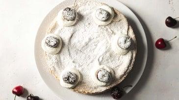 Powered sugar on a cake