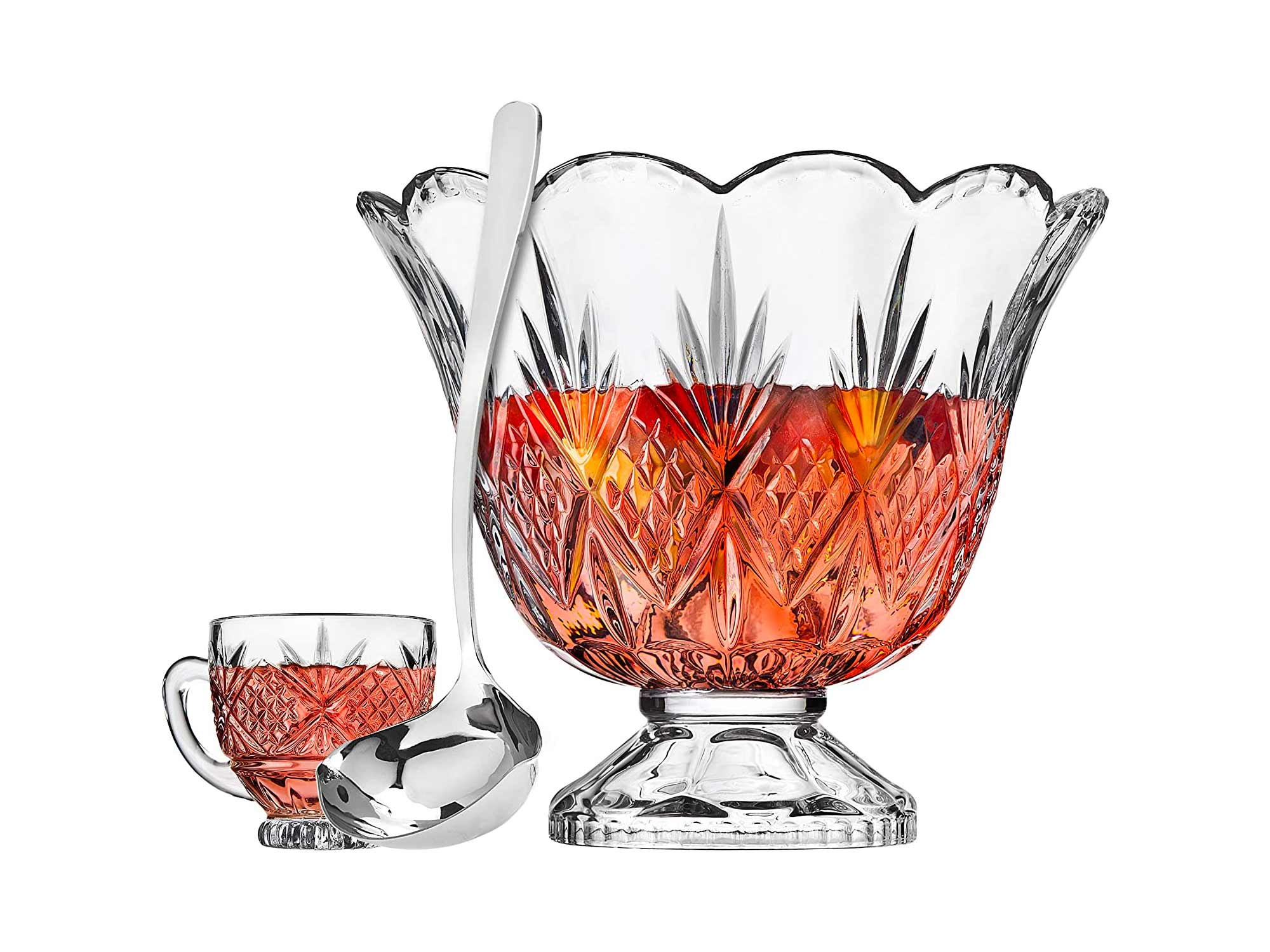 Godinger Dublin Crystal Punch Bowl Set with 8 Cups and Ladle - 10 Piece Set