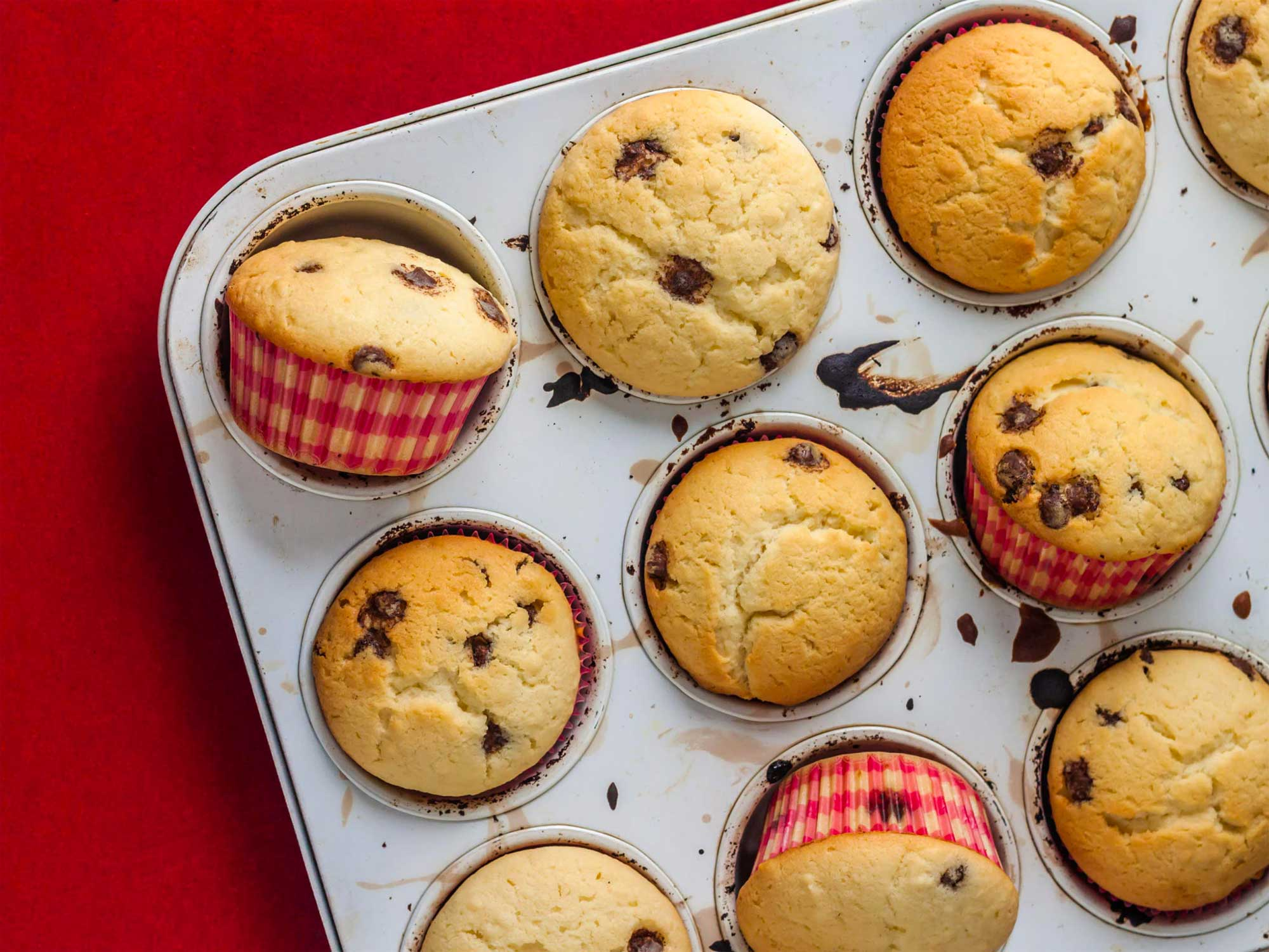 Muffins on a red tablecloth