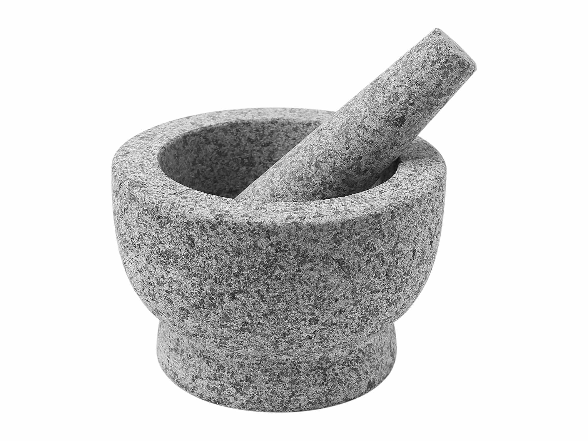 ChefSofi Mortar and Pestle Set - 6 Inch - 2 Cup Capacity - Unpolished Heavy Granite for Enhanced Performance and Organic Appearance - INCLUDED: Anti-Scratch Protector + Italian Recipes EBook
