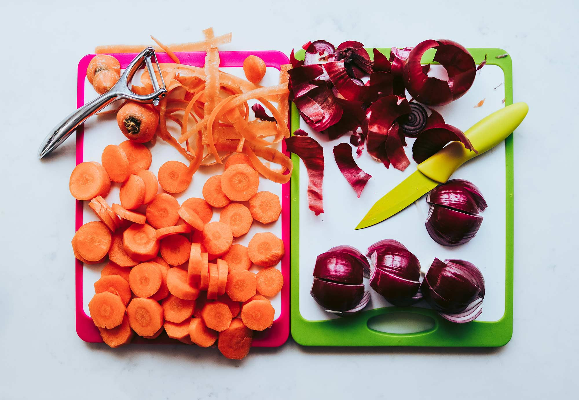Vegetables on a plastic chopping board