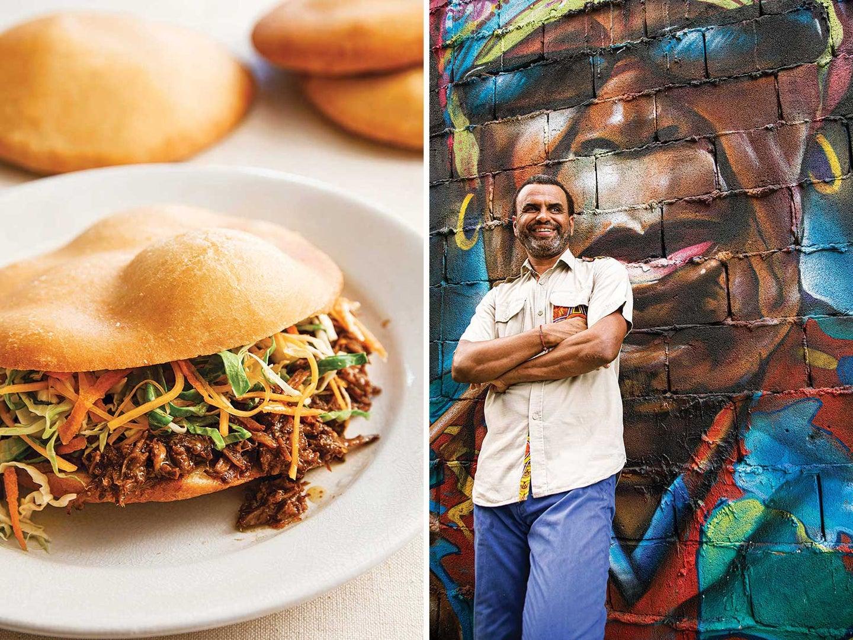 The slow-cooked pork bokit; Chef David Drumeaux outside his Pointe-à-Pitre restaurant, Bokit Delux.