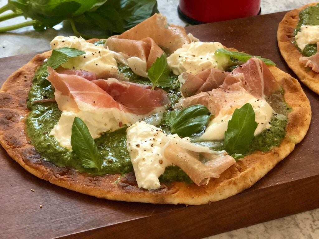 Pesto Pizza with Prosciutto di San Daniele and Burrata