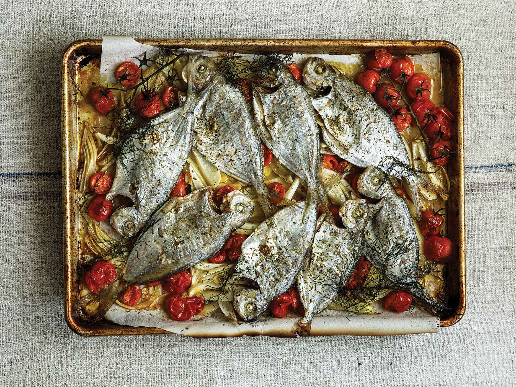 Oven-roasted Atlantic butterfish with fennel and tomato