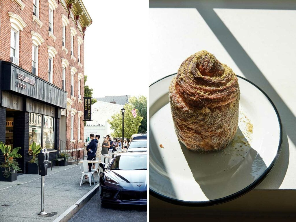 "A line forms outside Breadfolks every Saturday morning; the exquisite ""baklava cruffin,"" dusted with pistachio."