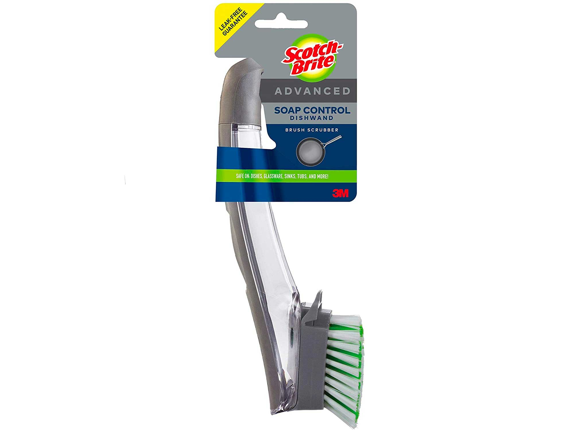 Scotch-Brite Advanced Soap Control Dishwand Brush, Leak-Free Guarantee, Keep Your Hands Out Of Dirty Water, Antimicrobial, Long Lasting and Reusable