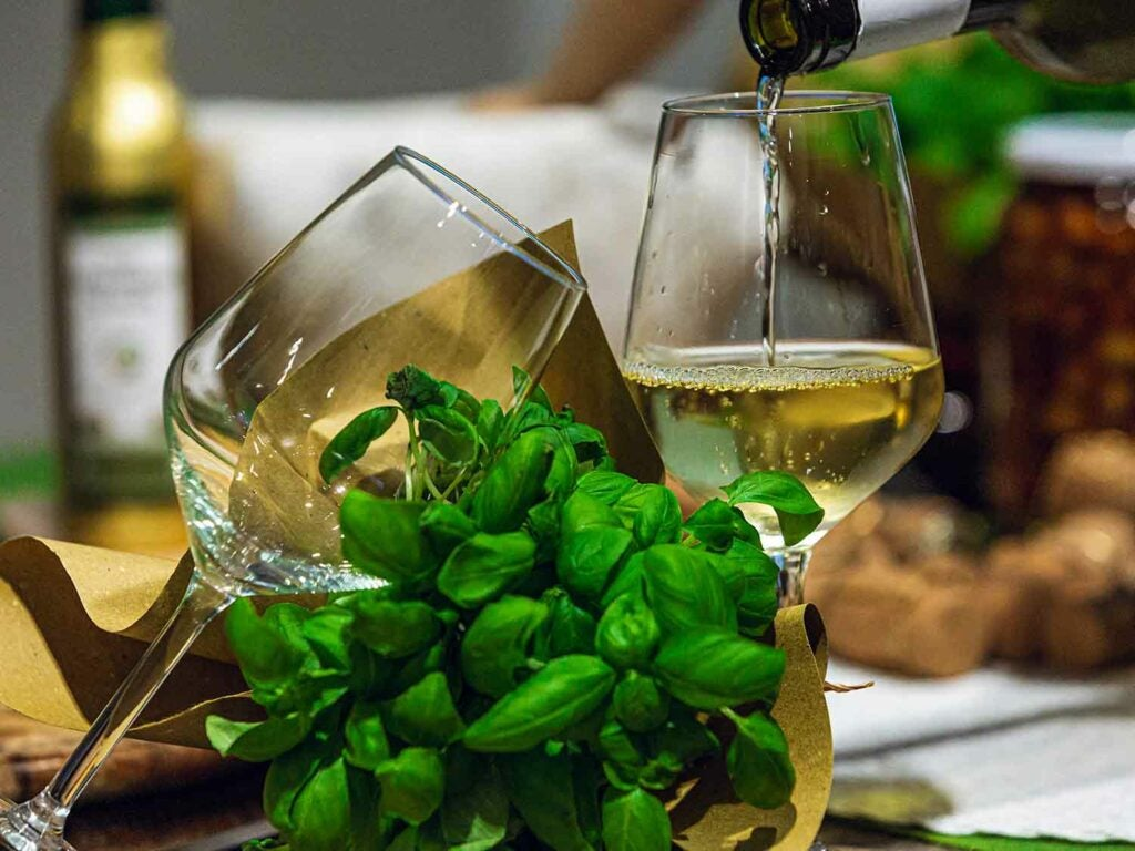 High-quality ingredients, such as homegrown basil, are essential to pesto.