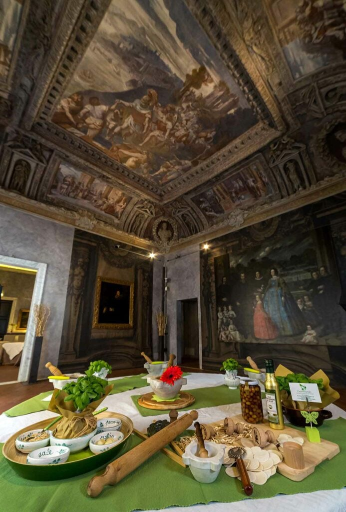 Learn how to make authentic pesto in an ornate palace.