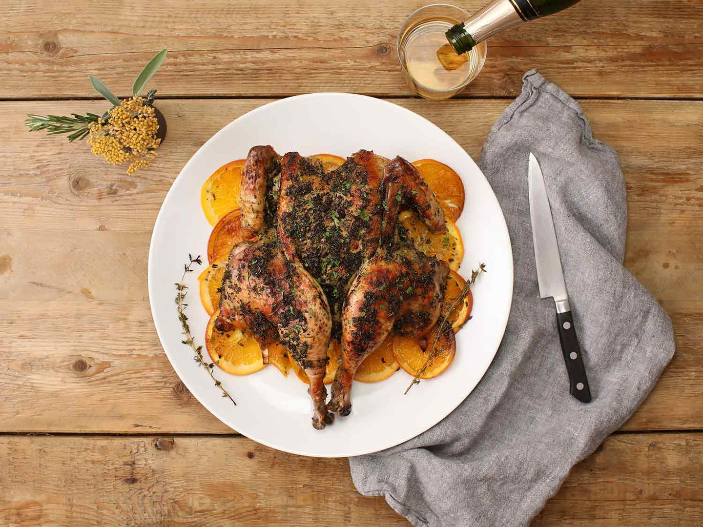 Orange- and Herb-Roasted Spatchcock Chicken