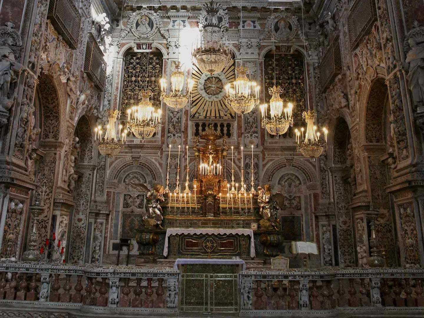 A view of the ornate church at the Santa Caterina monastery in Palermo.