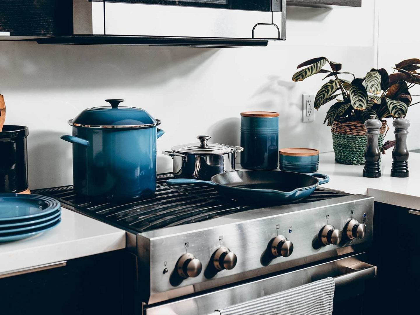 Cookware on stovetop