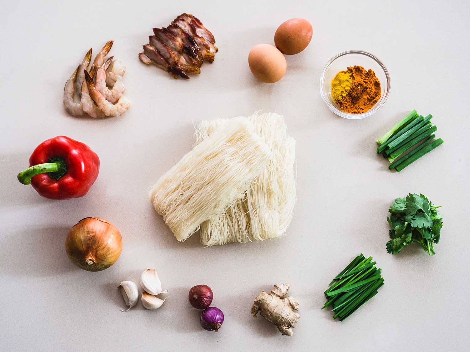 Rice vermicelli and other ingredients for Singapore Noodles.