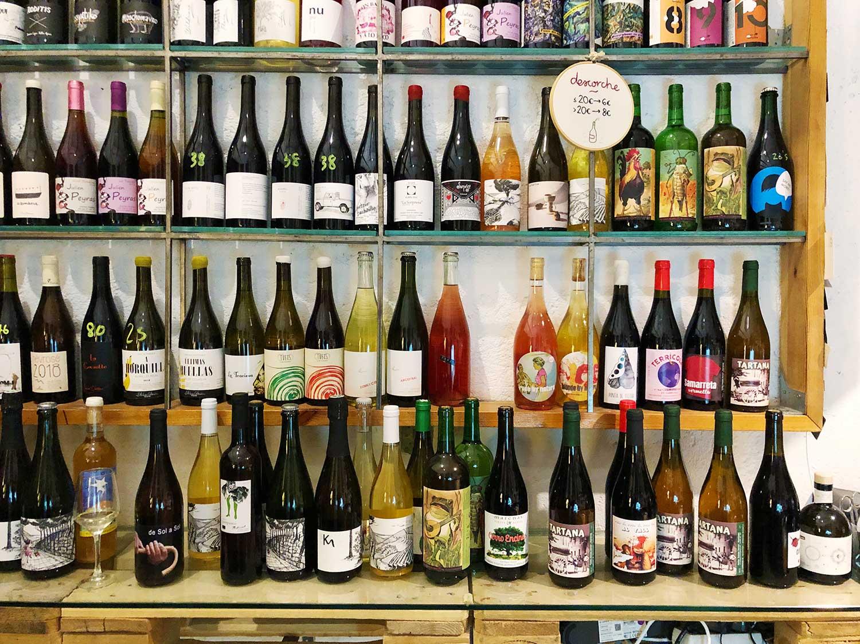 The natural wine selection at Madrid's Bendito Vinos y Vinilos.