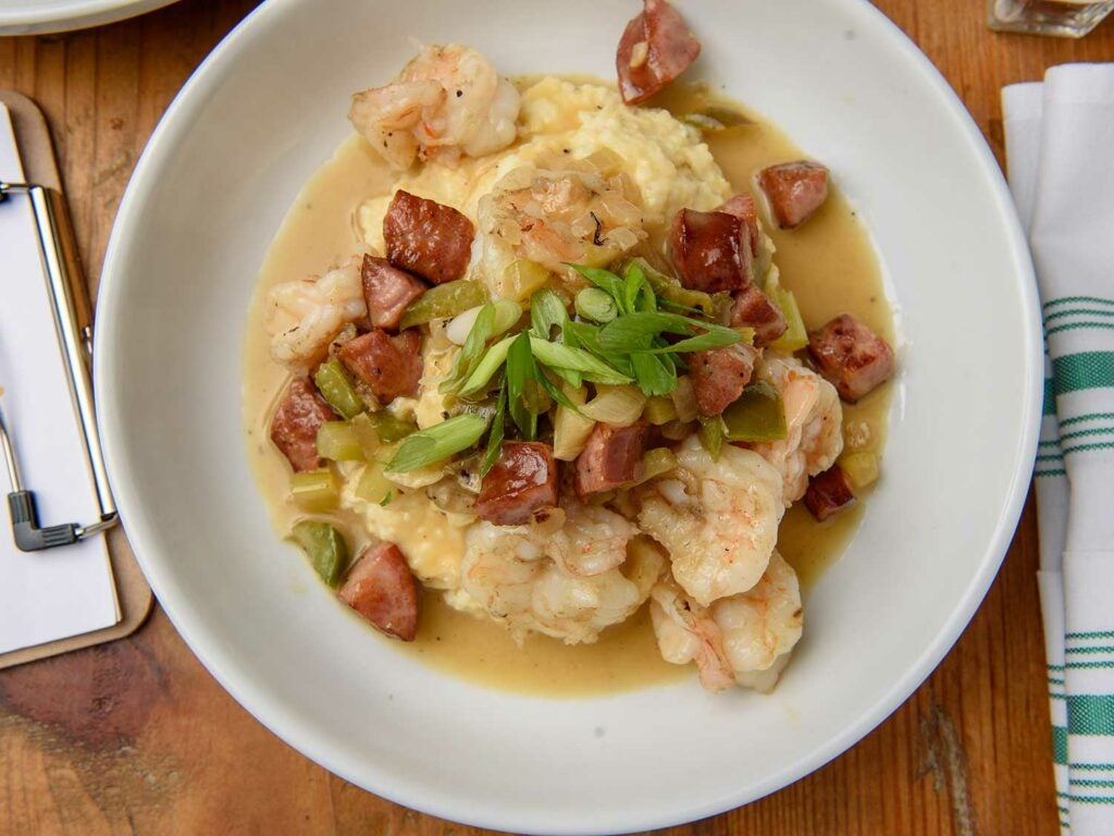 Shrimp and grits for an after work family meal.