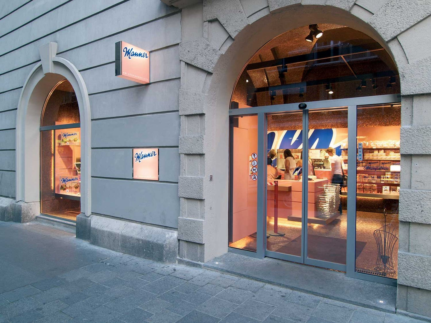 The entryway to Vienna's Manner boutique.