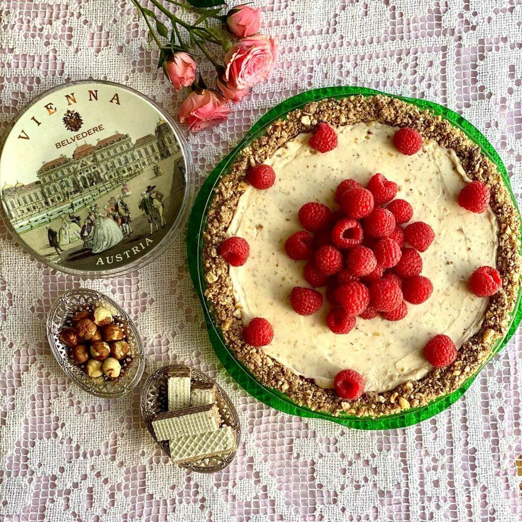 Raspberry Mascarpone Pie with Hazelnut Wafer Crust