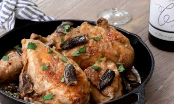 Poulet au Vin Jaune du Jura (Creamy Braised Chicken with Jura Wine and Morels)