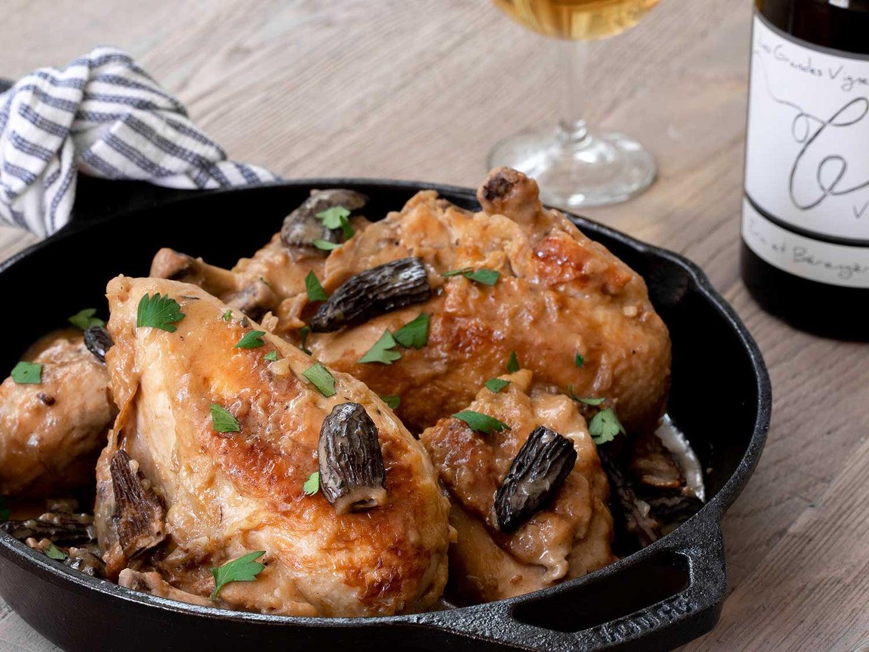 Poulet au Vin Jaune de Jura (Creamy Braised Chicken with Jura Wine and Morels)