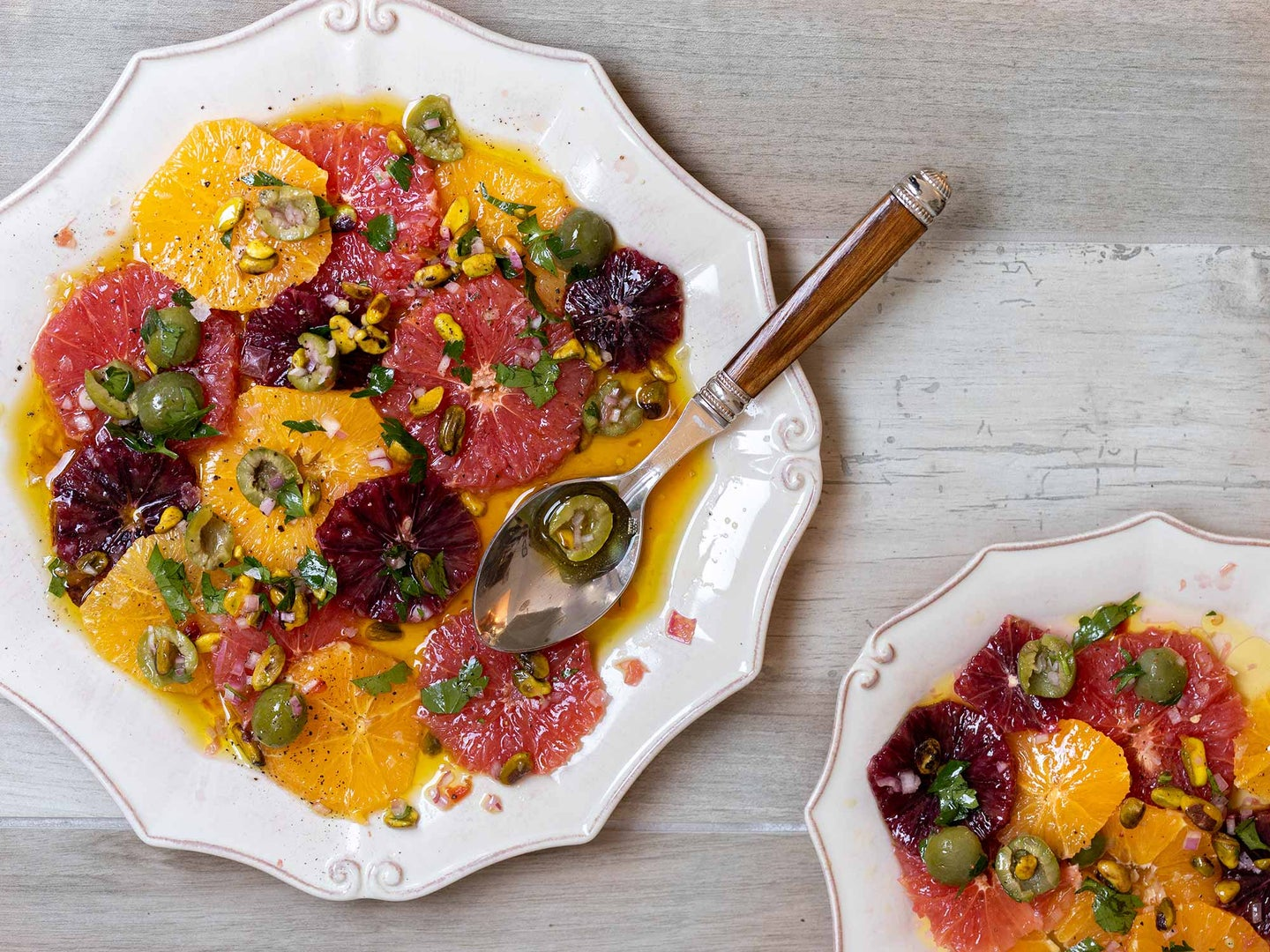 Winter citrus salad with olive oil, and briny Castelvetrano olives