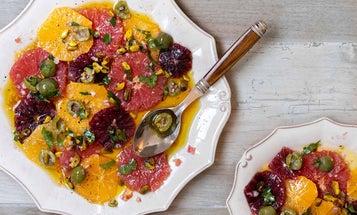 Winter Citrus Salad with Pistachio-Castelvetrano Olive Relish