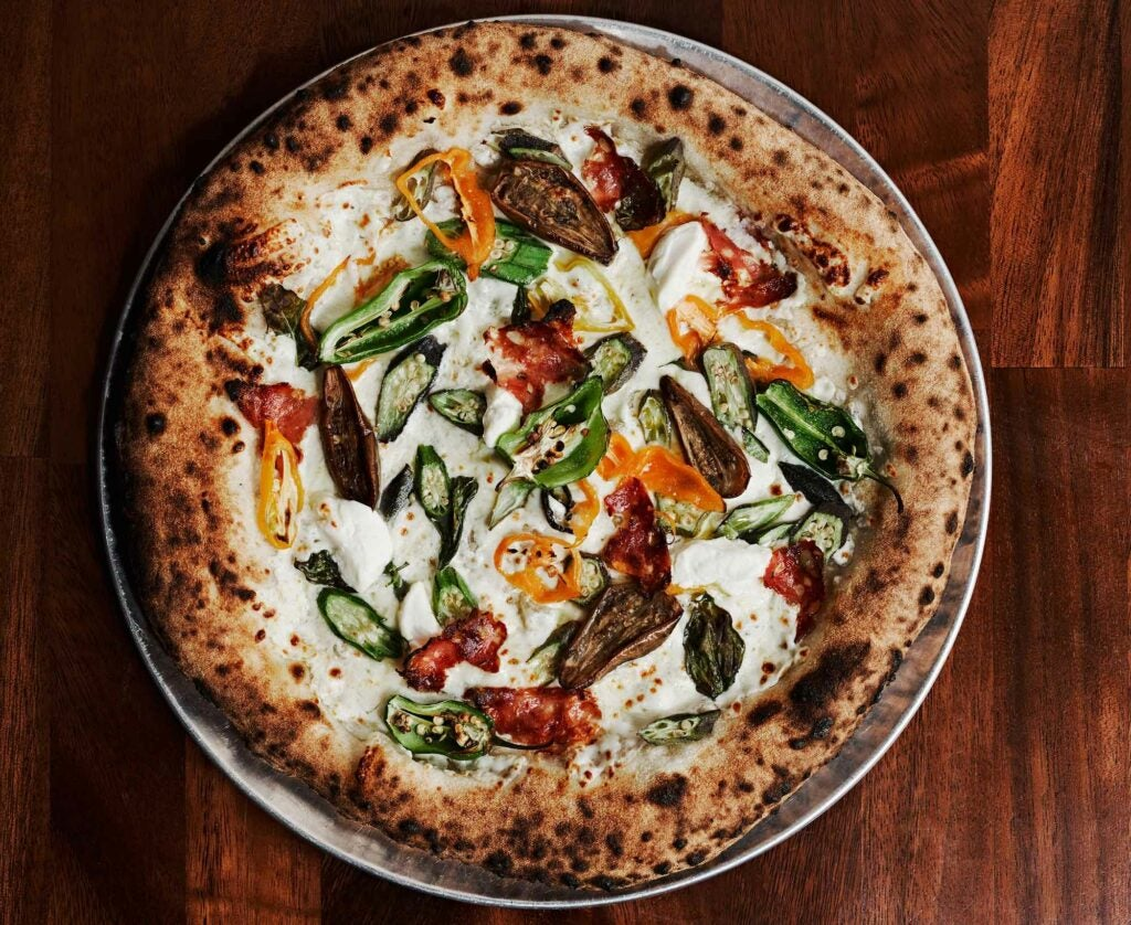 The Market Pie changes weekly at Pizzeria Vittoria. This one featured fairy tale eggplant, and both Jimmy Nardello's and padron peppers.