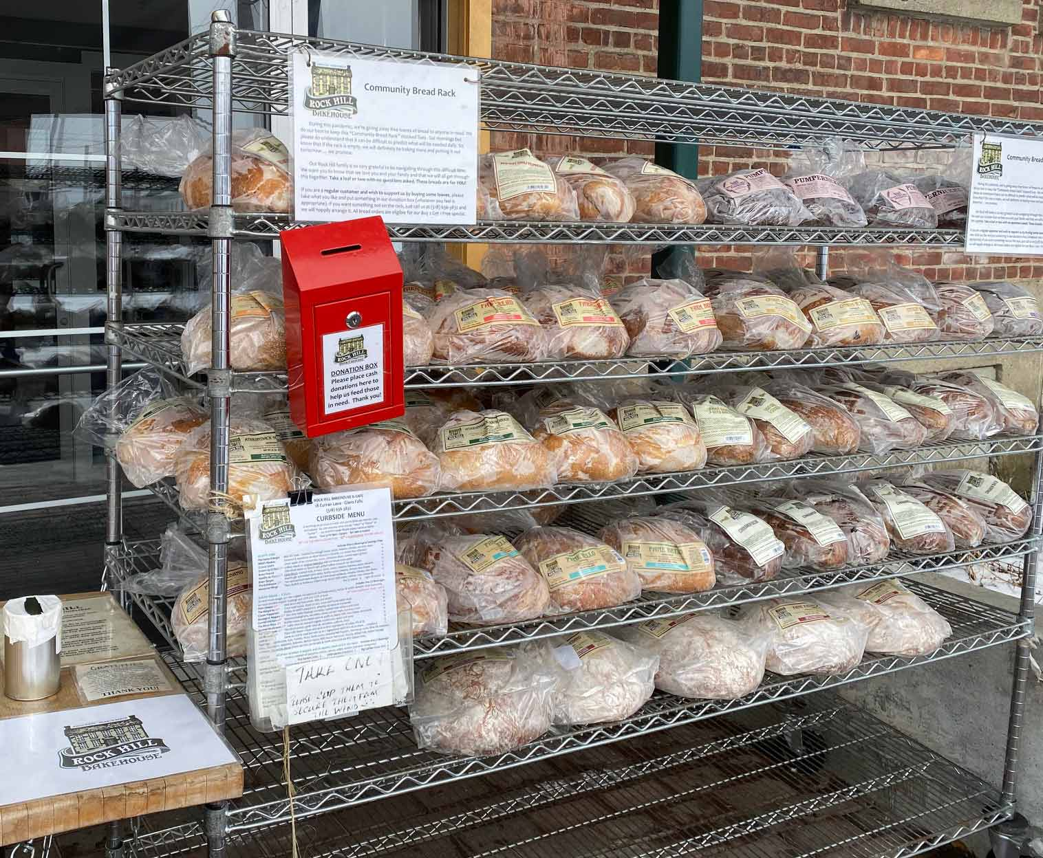 New York's Rock Hill Bakehouse & Cafe gives away 750 loaves of fresh bread every week using a no-questions-asked Community Bread Rack.