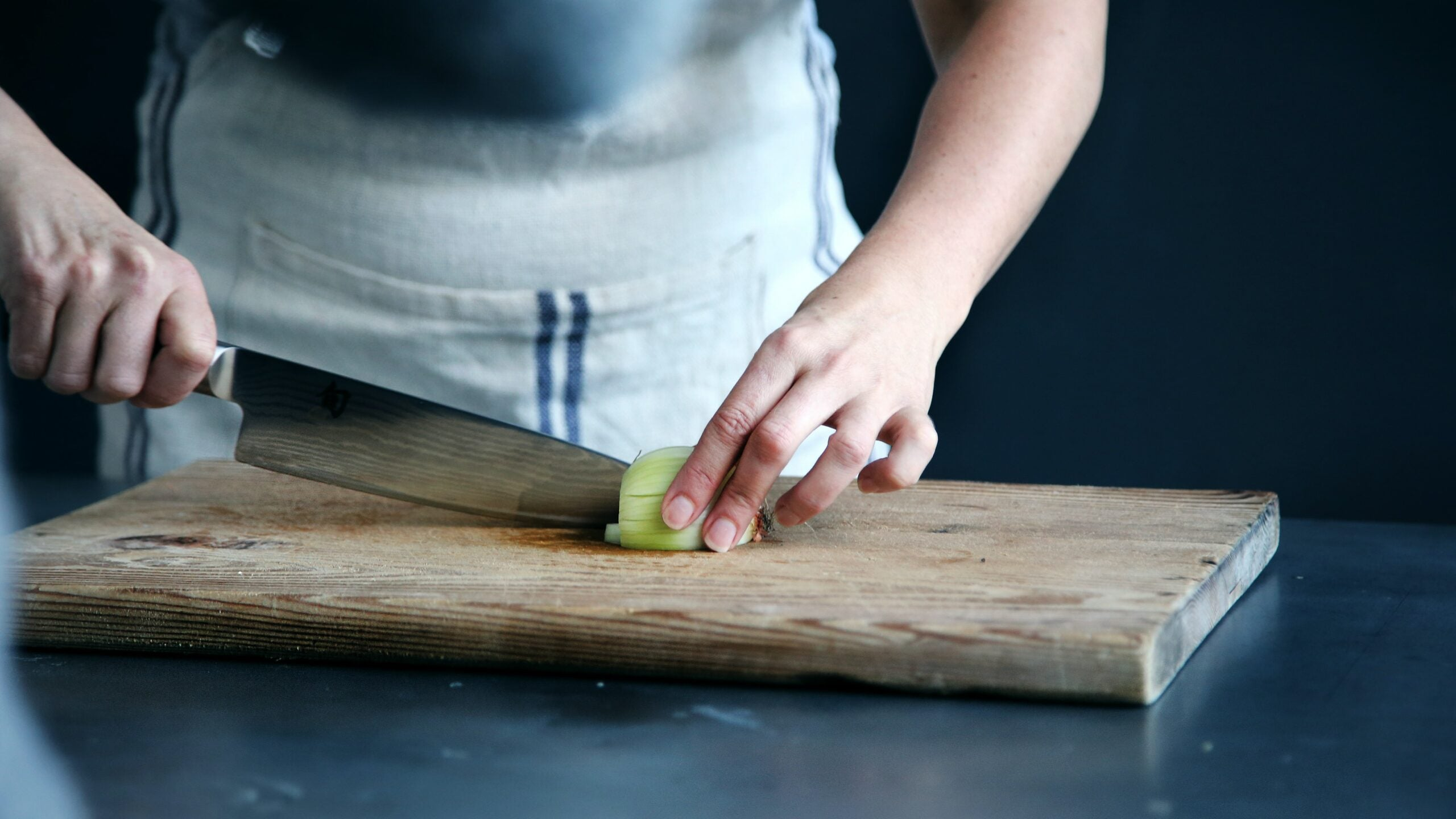 Person using a chef knfe