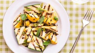 Grilled Squash and Scallions with Chile-Honey Vinaigrette