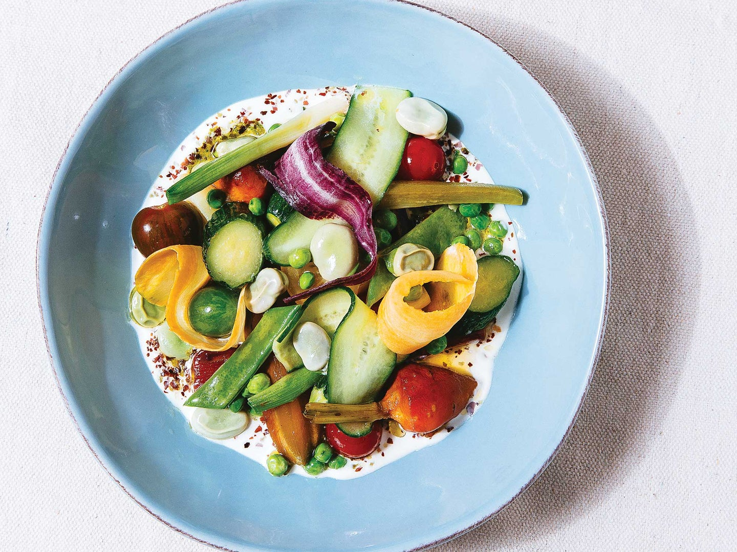 Mixed Spring Vegetables With Almond Cream