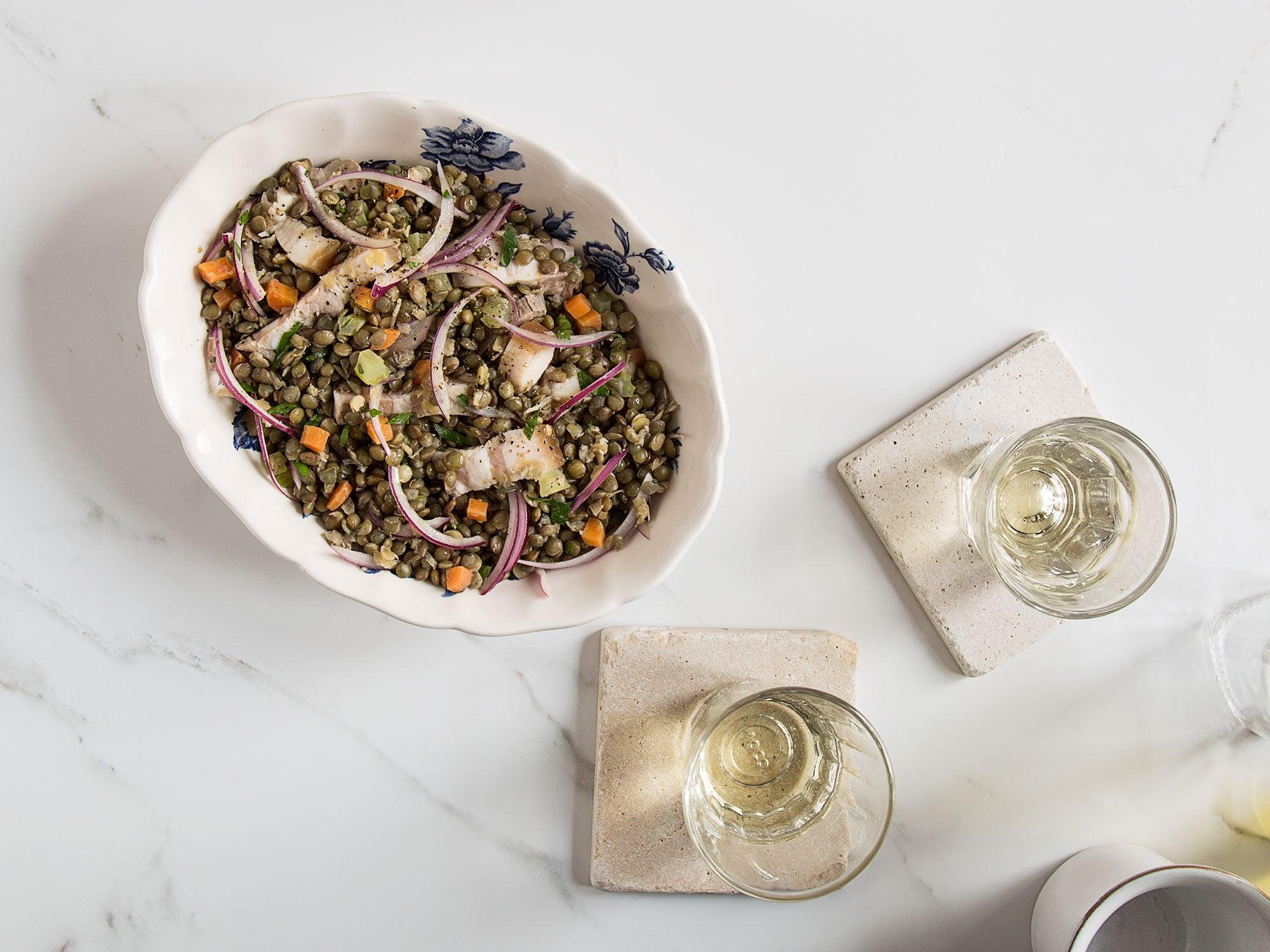 Lentil Salad with Pork Belly