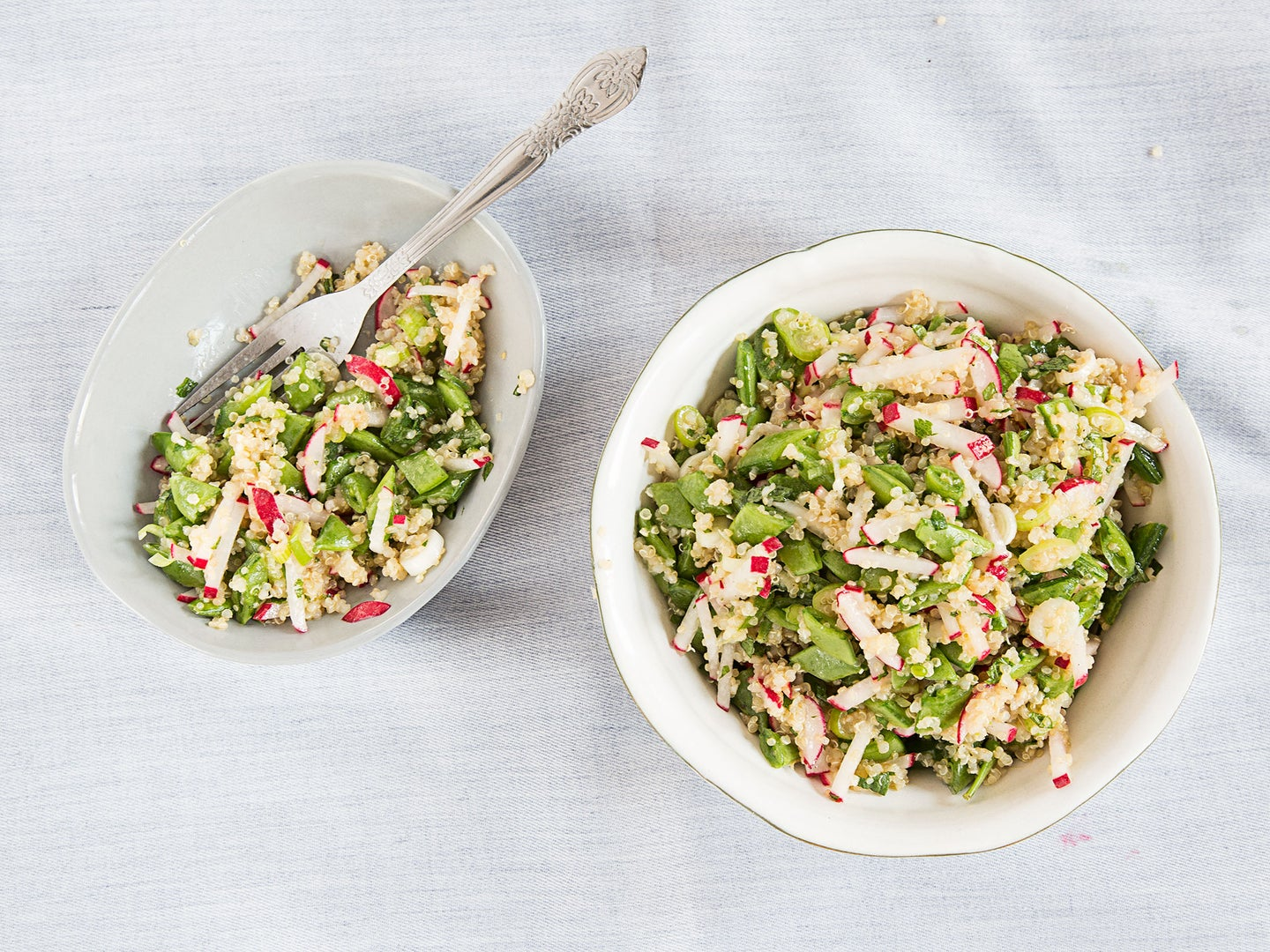 Quinoa Salad with Sugar Snap Peas, Scallions, and Mint
