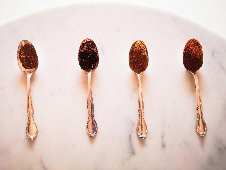 Parsi spice blends, from left: Garam masala, sambhar masala, dhana jeera masala, dhansak masala.